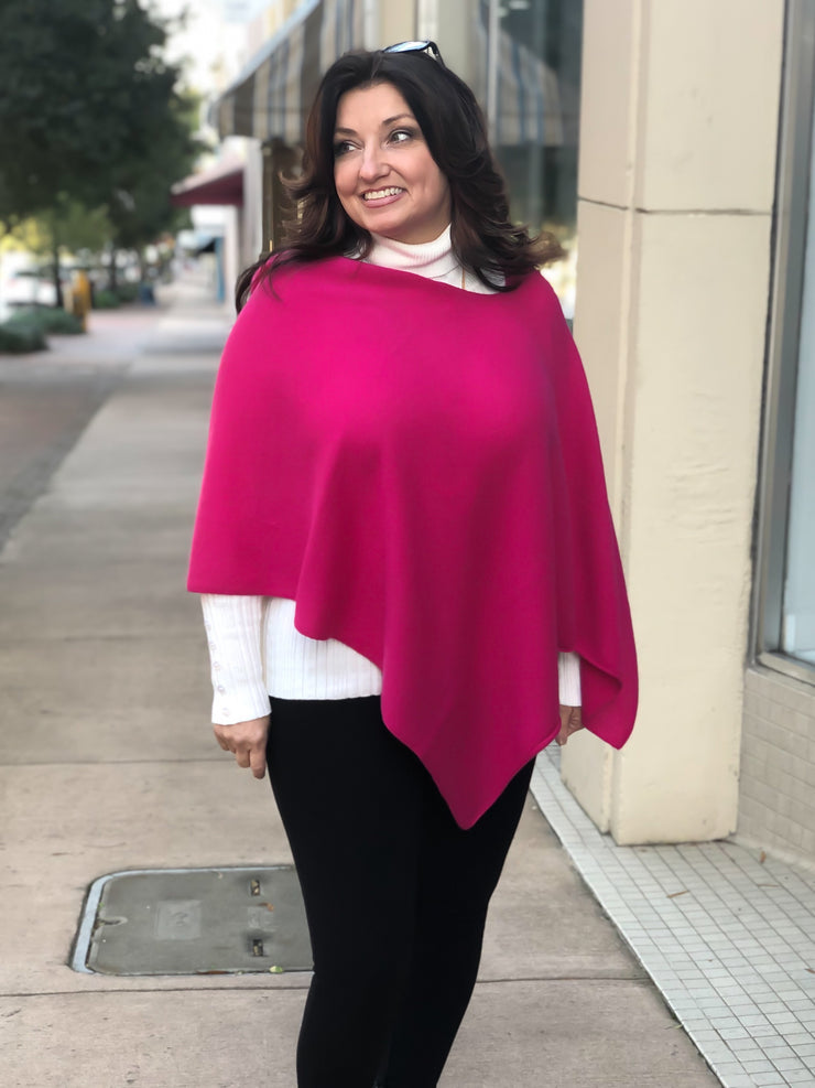 Pure Cashmere Poncho - Berry