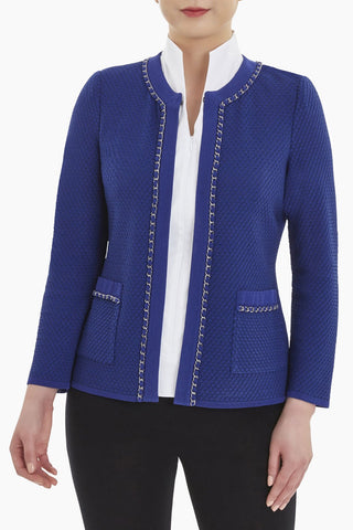 Ming Wang Chain Trim Knit Jacket - Majestic