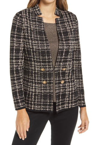Ming Wang Plaid Foil Knit Jacket - Black/Gold