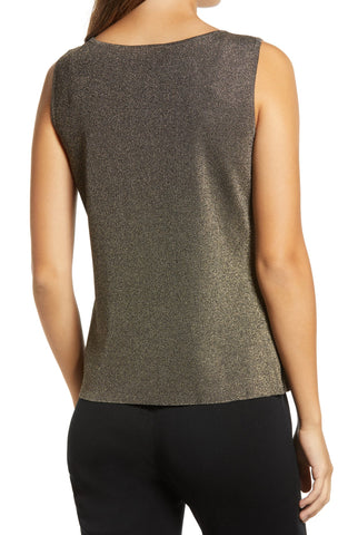 Ming Wang Scoop Neck Glitter Tank - Gold/Black