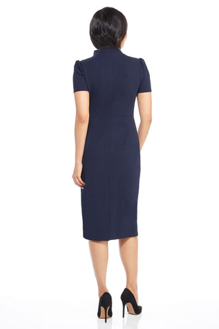 Maggy London Short Sleeve Tie Neck Dress - Navy