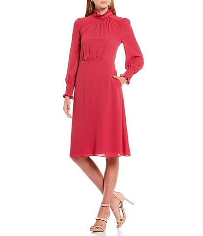 Maggy London Desiree Smocking Dress - Sangria