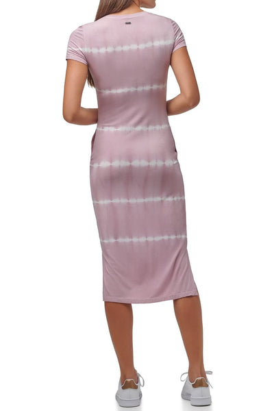 Marc New York Performance Short Sleeve Tie Dye Midi T Shirt Dress - Mauve