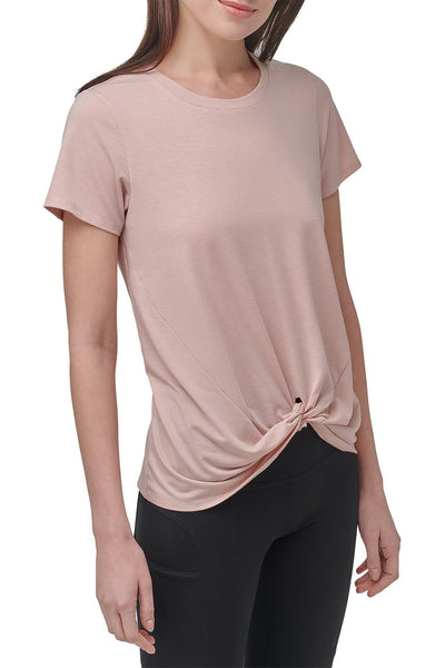 Marc New York Performance Short Sleeve Twist Front Tee - Blush