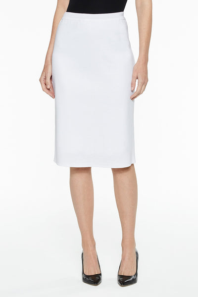 Ming Wang Below the Knee Straight Knit Skirt - White