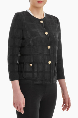 Ming Wang Shadow Plaid Knit Jacket - Black
