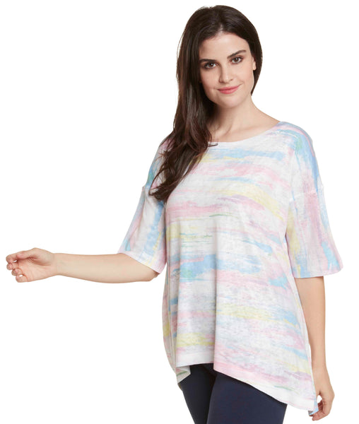 Nally & Millie Brushstroke Print Short Sleeve Top - Pink/White