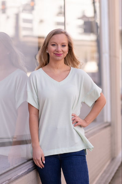 Nally & Millie Short Sleeve V-Neck Terry Top - Cameo Green