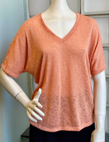 Nally & Millie Short Sleeve V-Neck Dolman Tee - Coral