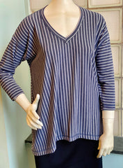 Nally & Millie Striped V-Neck 3/4 Sleeve Knit Top - Indigo