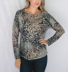 Nally & Millie Long Sleeve Animal Print Knit Top - Grey/Blue