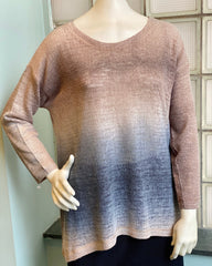 Nally & Millie Ombre Long Sleeve Knit Top - Natural/Blue