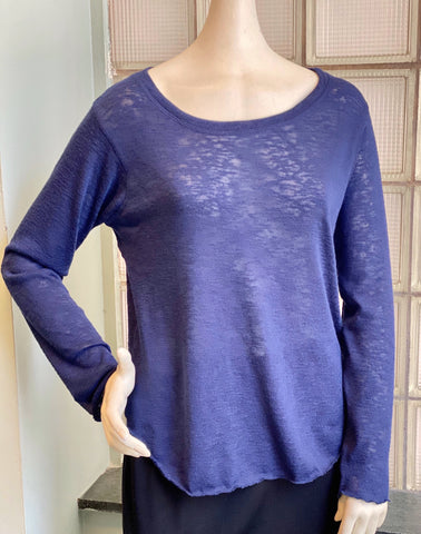 Nally & Millie Scoop Neck Solid Long Sleeve Knit Top - Navy