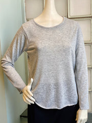 Nally & Millie Scoop Neck Solid Long Sleeve Knit Top - Grey