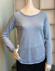 Nally & Millie Solid Scoop Neck Long Sleeve Knit Top - Dusty Blue