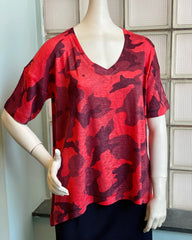 Nally & Milly Camo V-Neck Short Sleeve Drop Shoulder Tee - Red