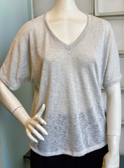 Nally & Millie Short Sleeve V-Neck Dolman Tee - Stone