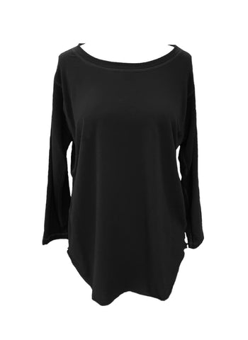 Nally & Millie Long Sleeve Round Neck Athleisure Knit Top - Black