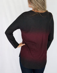Nally & Millie Long Sleeve Ombre Knit Top - Black/Wine