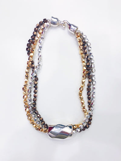 Simon Sebbag Designs - Triple-Strand Multicolor Hematite Collar Necklace with Sterling Silver Pendant