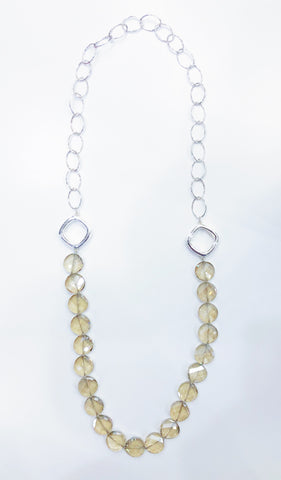 Simon Sebbag Designs - Long Sterling Silver & Crystal Chain Necklace with Open Blocks