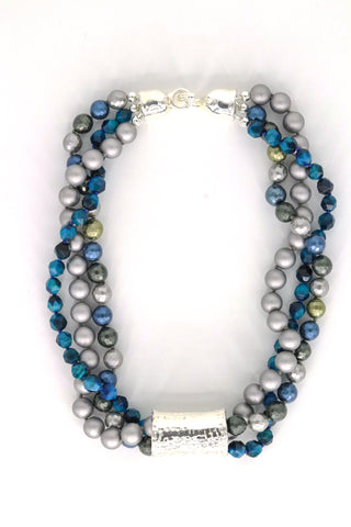 Simon Sebbag Designs - Triple Strand Tigereye Necklace with Hammered Sterling Silver Block