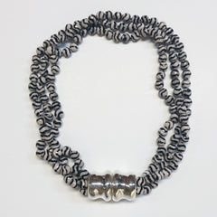 Simon Sebbag Designs - Magnetic Tri-Strand Wavy Stripe Tortoise Agate & Sterling Silver Short Collar Necklace