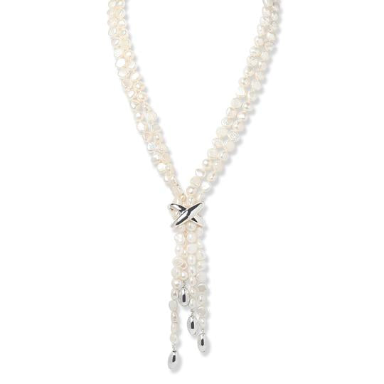 Simon Sebbag Long Pearl Tassel Necklace with Sterling Silver Accents