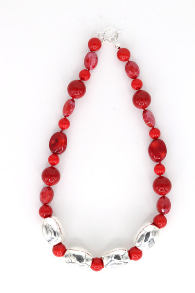 Simon Sebbag Designs - Red Coral Shell & Crystal Necklace with Sterling Silver Blocks