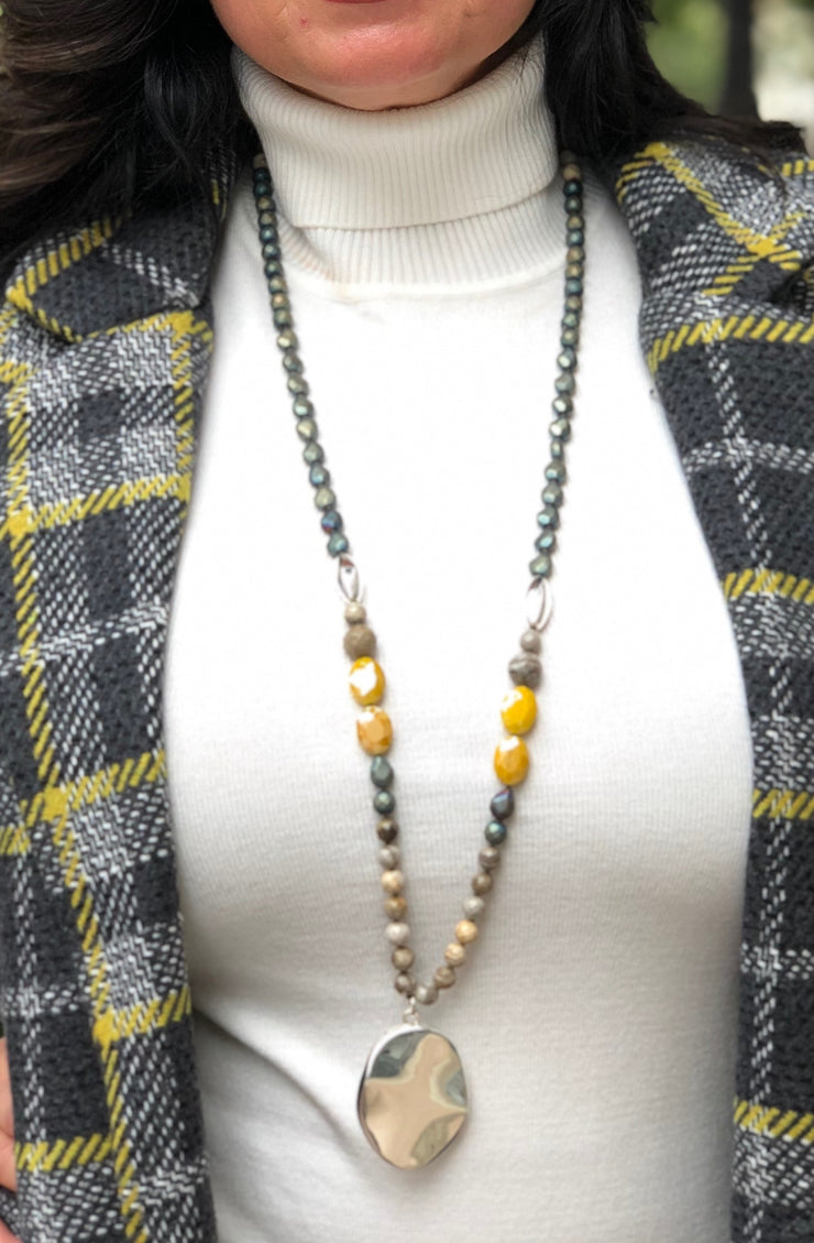 Simon Sebbag Designs - Crystal & Hematite Necklace with Sterling Silver Medallion - Mustard/Olive