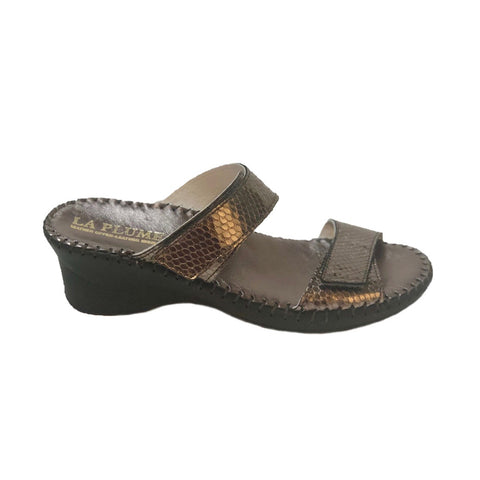 LaPlume Nina Two-Strap Wedge Sandal - Pewter Lizard Print