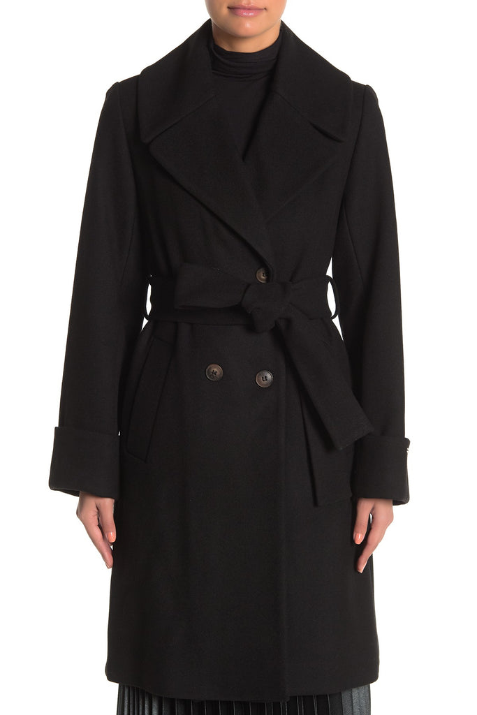 Nine West Wool Blend Double Breasted Belted Coat - Black - Sugg. $220.00