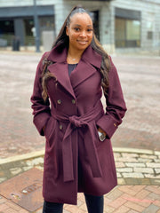 Nine West Wool Blend Double Breasted Belted Coat - Wine - Sugg. $220.00