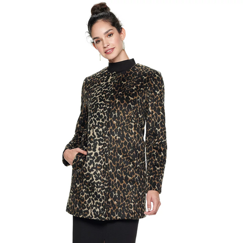 Nine West Wool Blend Coat - Leopard Print - Sugg. $180.00