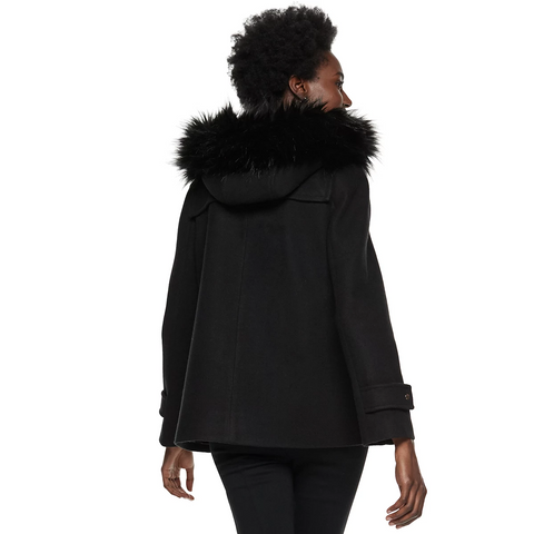 Nine West Hooded Faux Fur Trim Toggle Coat - Black - Sugg. $180.00