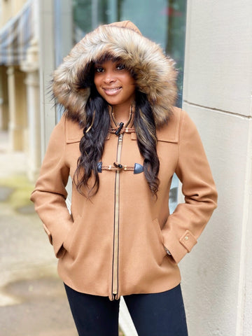 Nine West Hooded Faux Fur Trim Toggle Coat - Camel - Sugg. $180.00