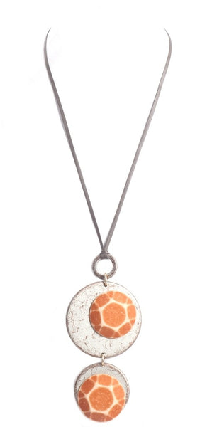 Alisha.D Dual Circle Drop Textured Pendant Necklace - Army Rust
