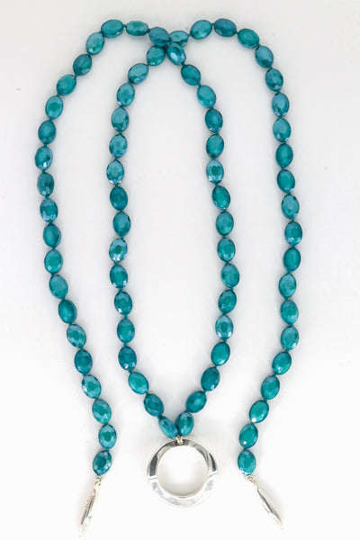 Simon Sebbag Designs - Teal Crystal Lariat Necklace With Sterling Silver Loop