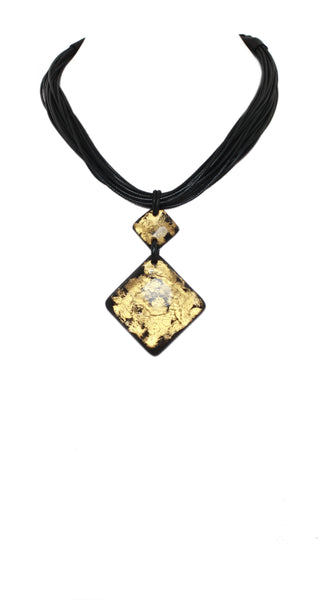 Alisha.D Dual Drop Pendant Necklace - Gold/Black