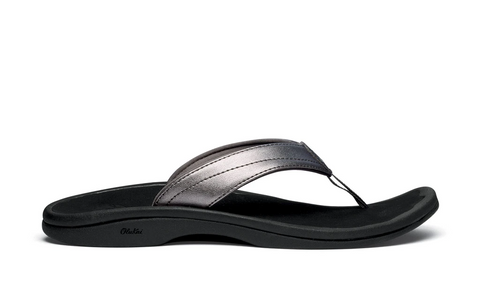 OluKai 'Ohana Toe Post Sandal - Pewter/Black