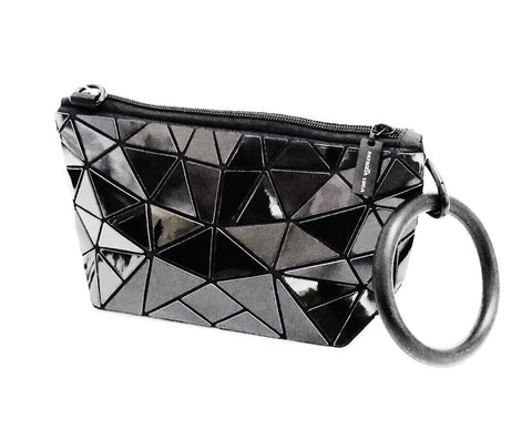 Patrizia Luca Geometric Tile Convertible Crossbody Pouch - Iridescent Black Gloss