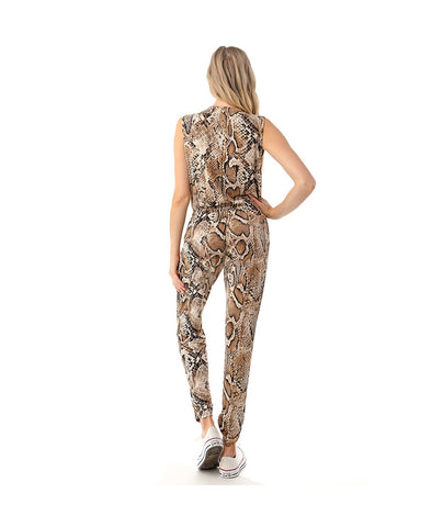 Ariella Sleeveless V-Neck Jumpsuit - Brown/Python Print