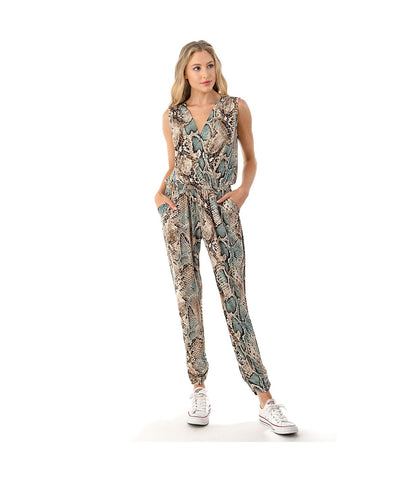 Ariella Sleeveless V-Neck Jumpsuit - Mint/Python Print