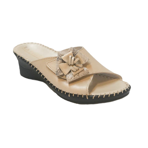 LaPlume Palma Single Strap Bow Wedge Sandal - Bone