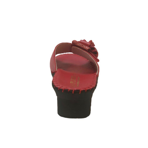 LaPlume Palma Single Strap Bow Wedge Sandal - Red