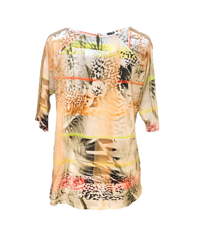 Passioni Raglan Sleeve Print Short Sleeve Top - Orange/Multicolor