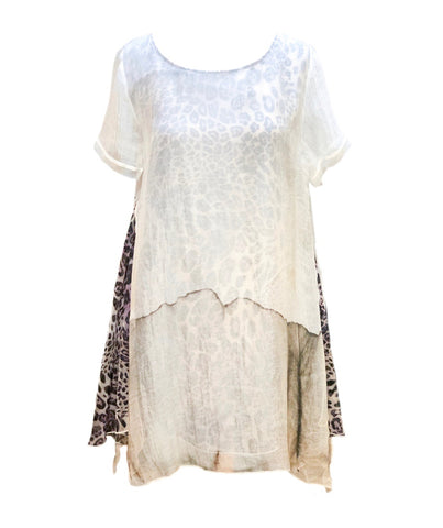 Passioni Short Sleeve A-Line Double Layer Tunic - White/Multicolor