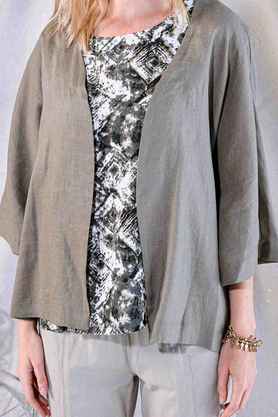 Focus Fashion 3/4 Sleeve Linen Jacket - Taupe