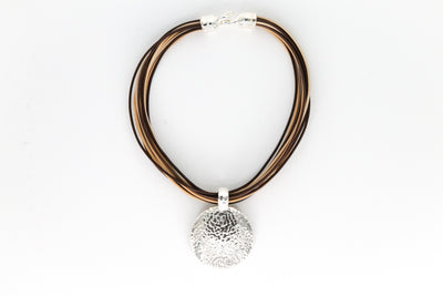 Simon Sebbag Designs - Hammered Sterling Silver Medallion & Brown Leather Rope Necklace