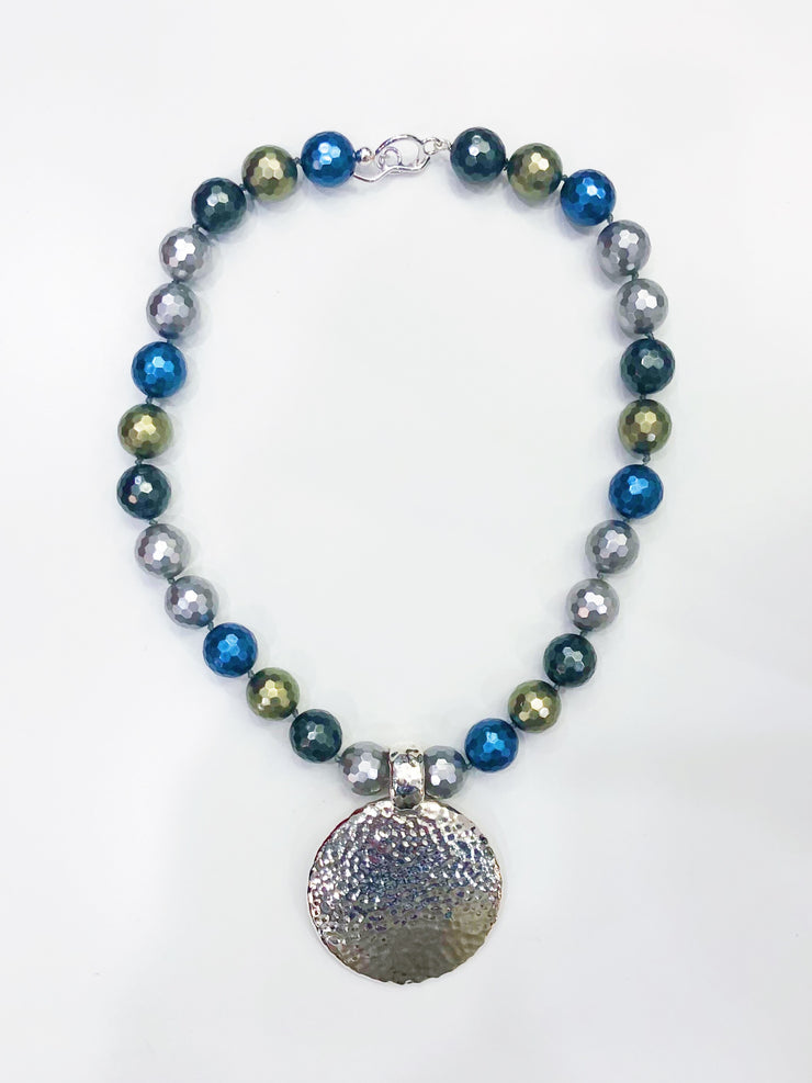 Simon Sebbag Designs - Multicolor Bead Necklace with Hammered Sterling Silver Medallion